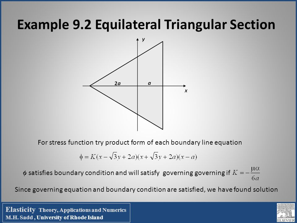 Example 9.2 Equilateral Triangular Section For stress function try product form of each boundary line equation  satisfies boundary condition and will