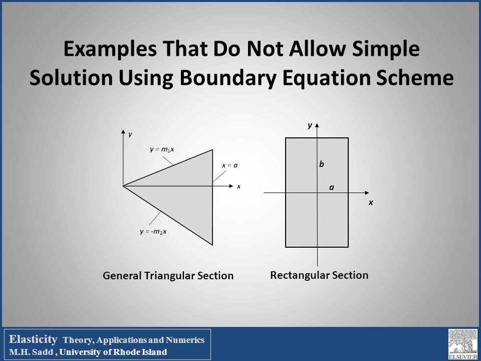 Examples That Do Not Allow Simple Solution Using Boundary Equation Scheme x y a b General Triangular Section Rectangular Section Elasticity Theory, Ap