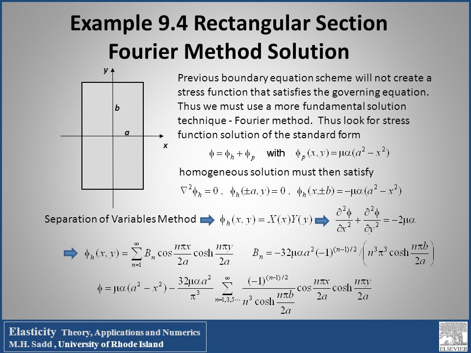 Example 9.4 Rectangular Section Fourier Method Solution Previous boundary equation scheme will not create a stress function that satisfies the governi