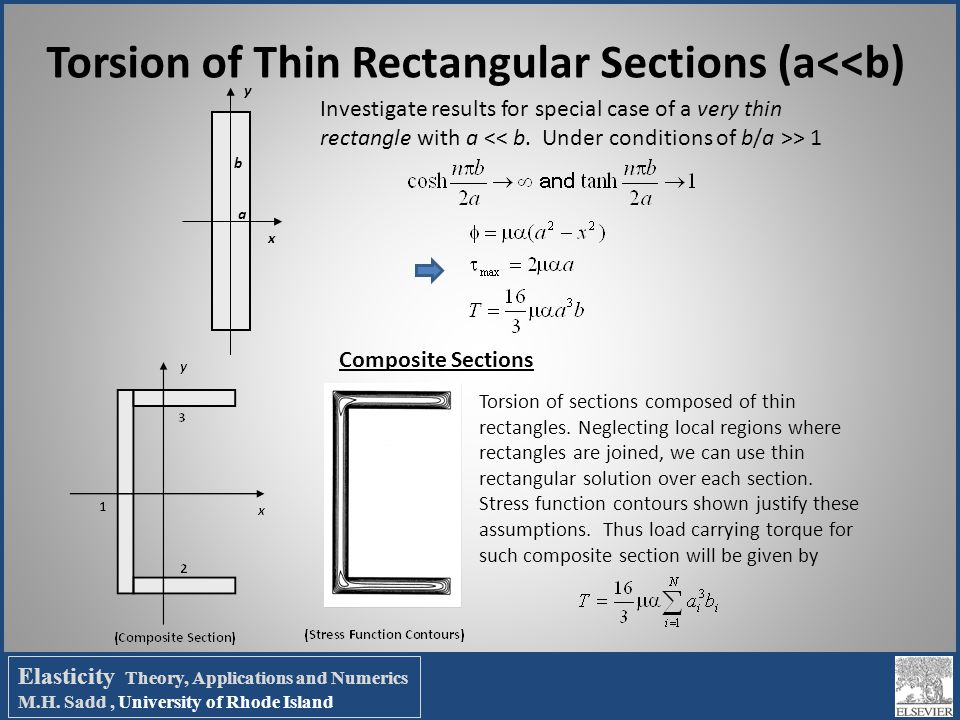 Torsion of Thin Rectangular Sections (a<<b) x y a b Investigate results for special case of a very thin rectangle with a > 1 Composite Sections Torsio
