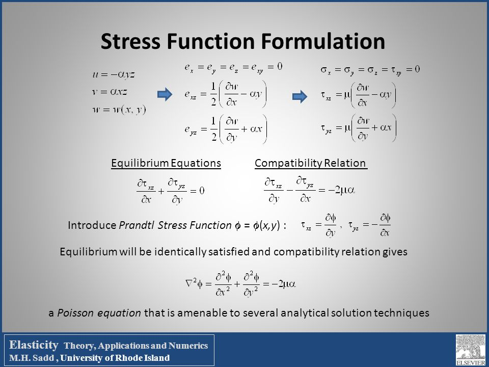 Stress Function Formulation Equilibrium EquationsCompatibility Relation Introduce Prandtl Stress Function  =  (x,y) : Equilibrium will be identicall