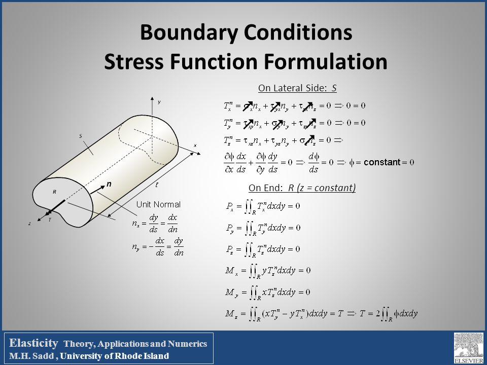 Boundary Conditions Stress Function Formulation On Lateral Side: S On End: R (z = constant) n        Elasticity Theory, Applications and Numeri