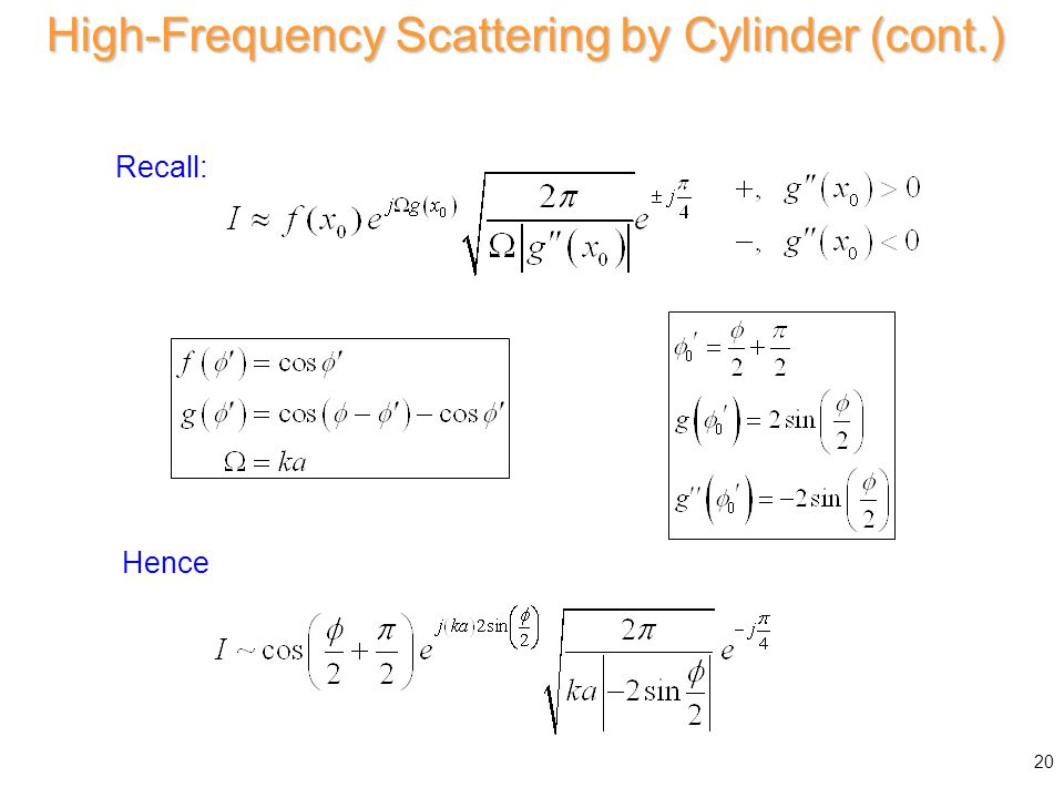 Hence the integral is Hence High-Frequency Scattering by Cylinder (cont.) 20 Recall: