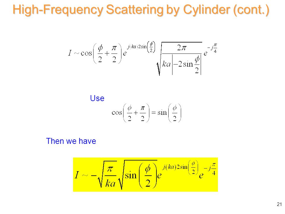or High-Frequency Scattering by Cylinder (cont.) 21 Use Then we have
