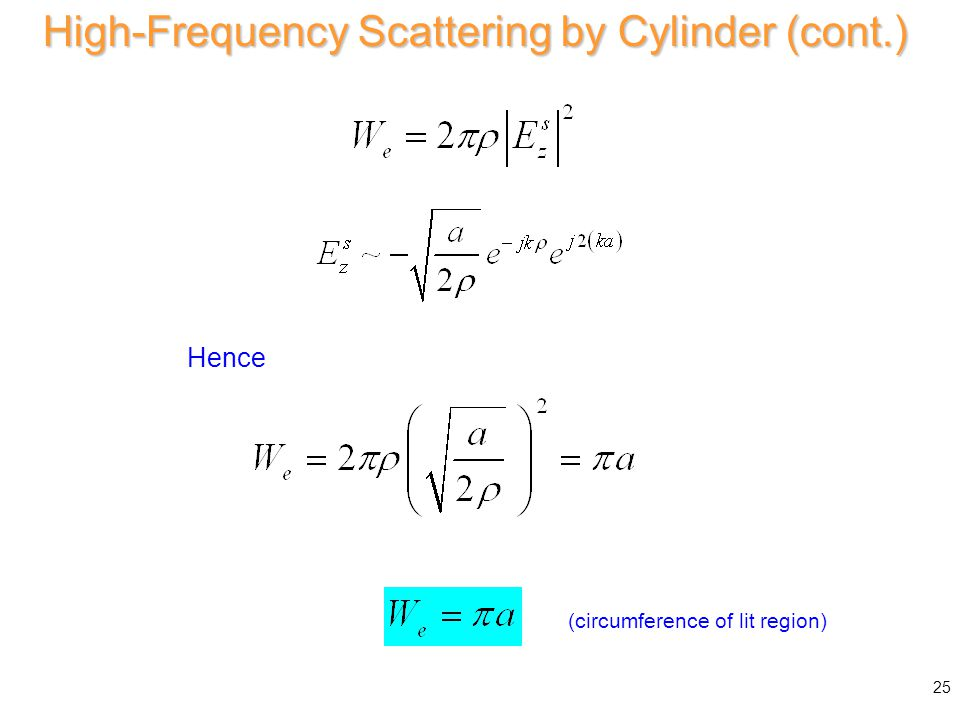 Then High-Frequency Scattering by Cylinder (cont.) 25 Hence (circumference of lit region)
