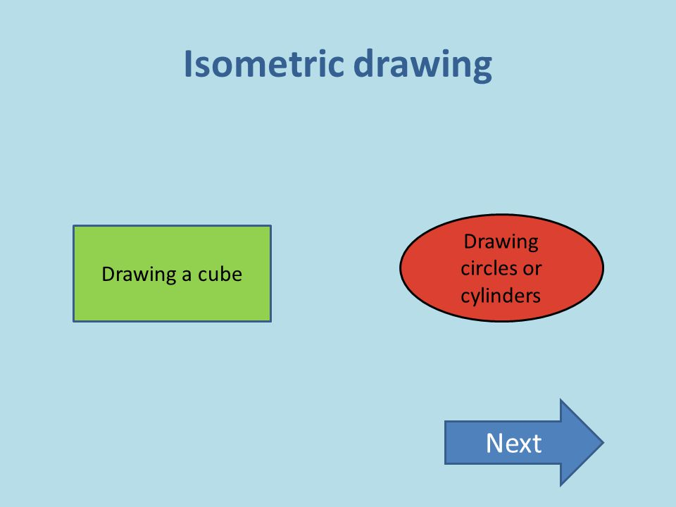 Isometric drawing Drawing a cube Drawing circles or cylinders Next