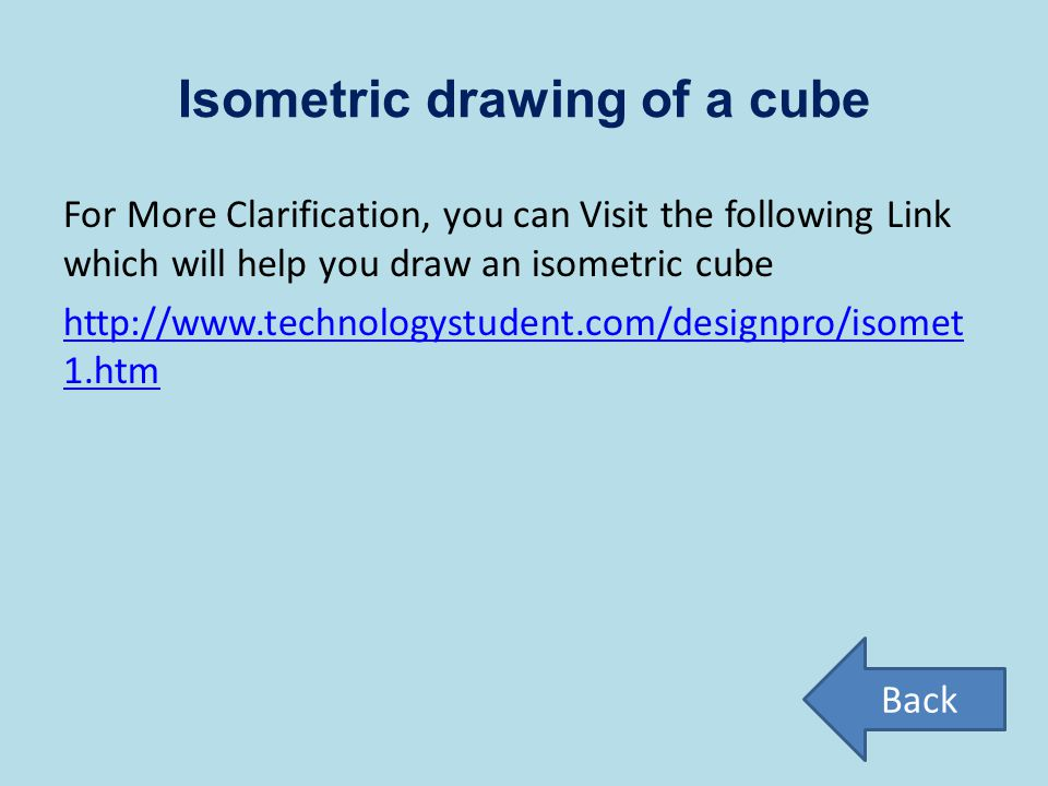 Isometric drawing of a cube For More Clarification, you can Visit the following Link which will help you draw an isometric cube http://www.technologys