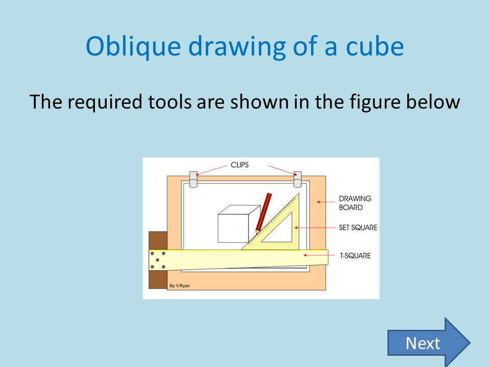 Oblique drawing of a cube The required tools are shown in the figure below Next