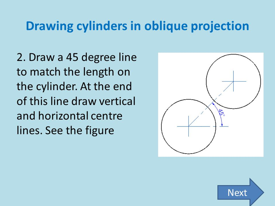 Drawing cylinders in oblique projection 2. Draw a 45 degree line to match the length on the cylinder. At the end of this line draw vertical and horizo
