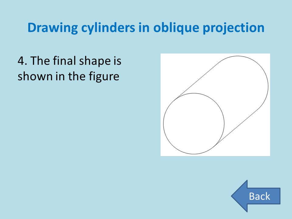 Drawing cylinders in oblique projection 4. The final shape is shown in the figure Back