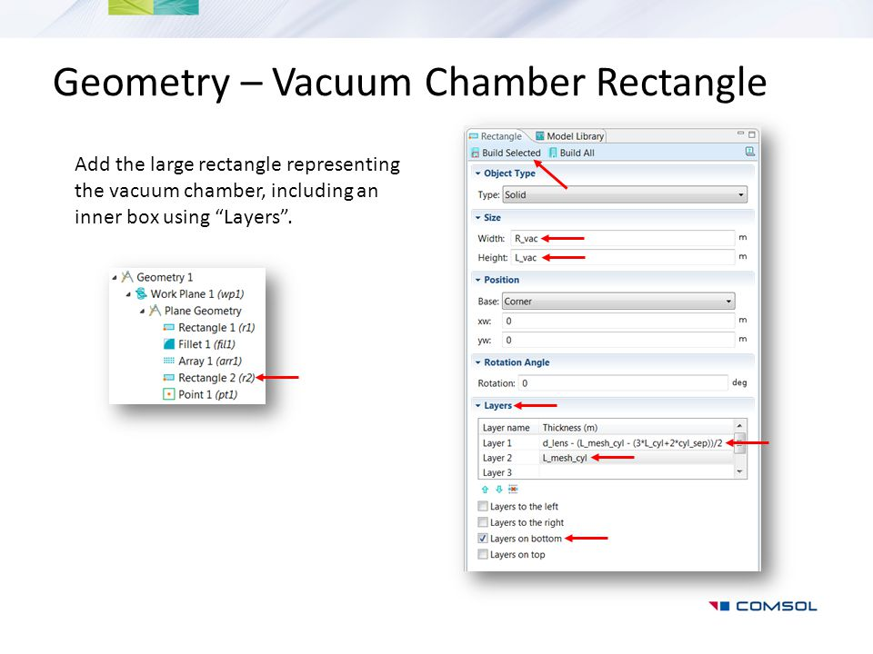 "Geometry – Vacuum Chamber Rectangle Add the large rectangle representing the vacuum chamber, including an inner box using ""Layers""."