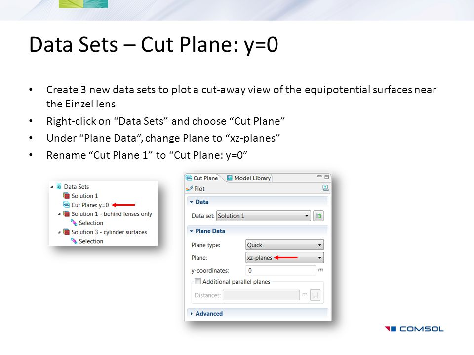 "Data Sets – Cut Plane: y=0 Create 3 new data sets to plot a cut-away view of the equipotential surfaces near the Einzel lens Right-click on ""Data Sets"