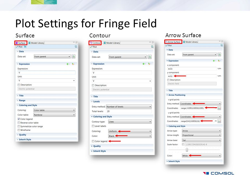 Plot Settings for Fringe Field SurfaceContour Arrow Surface