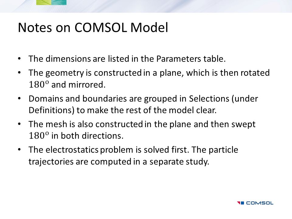 Notes on COMSOL Model