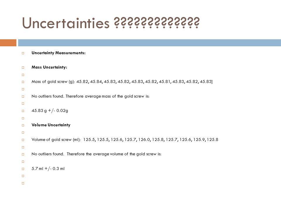 Uncertainties .