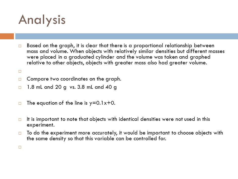 Analysis  Based on the graph, it is clear that there is a proportional relationship between mass and volume.