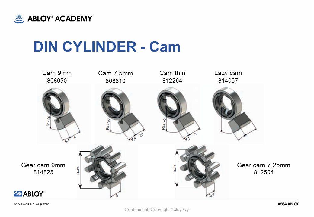 Confidential; Copyright Abloy Oy Cam 9mm 808050 Cam 7,5mm 808810 Cam thin 812264 Lazy cam 814037 Gear cam 9mm 814823 Gear cam 7,25mm 812504 DIN CYLIND