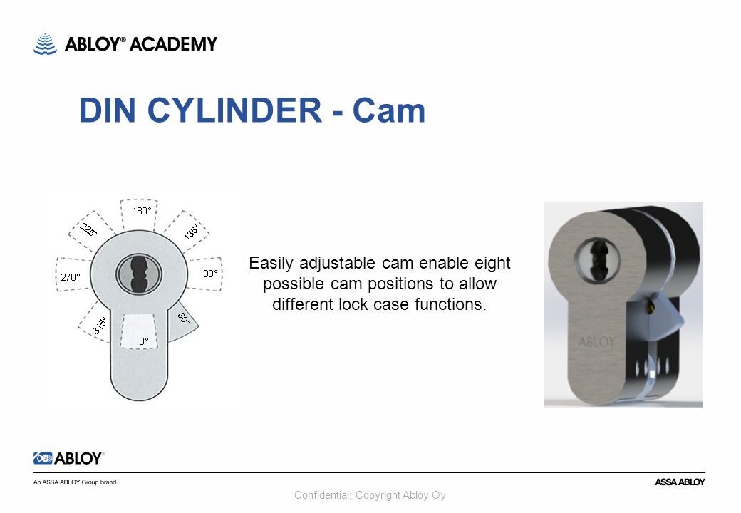 Confidential; Copyright Abloy Oy Easily adjustable cam enable eight possible cam positions to allow different lock case functions. DIN CYLINDER - Cam