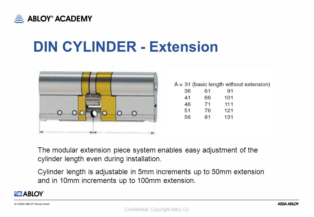 Confidential; Copyright Abloy Oy The modular extension piece system enables easy adjustment of the cylinder length even during installation. Cylinder