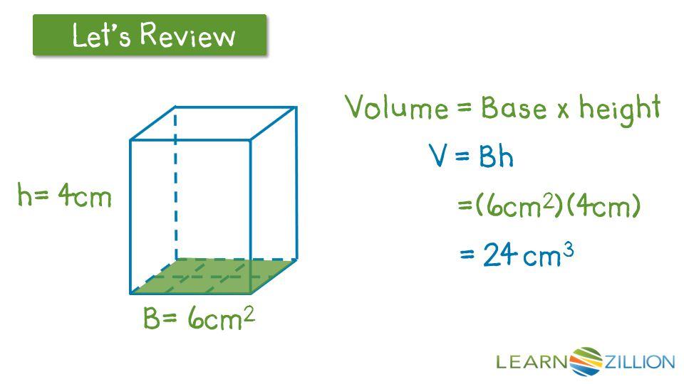 Let's Review B= 4cm 2 h= 5cm V = Bh =(4cm 2 )(5cm) = 20 cm 3