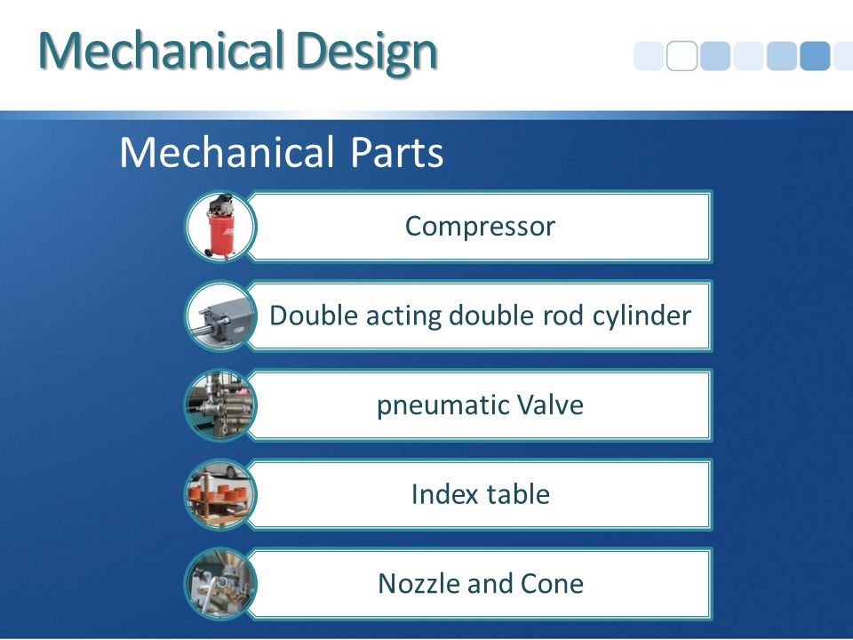 Mechanical Design Compressor Double acting double rod cylinder pneumatic Valve Index table Nozzle and Cone Mechanical Parts
