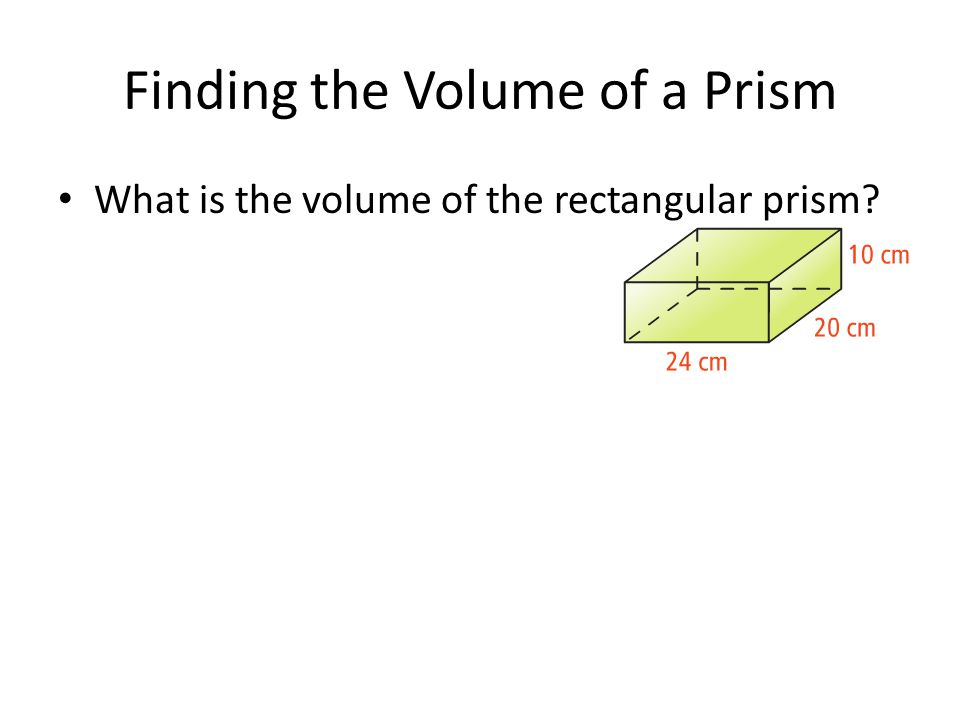 Finding the Volume of a Prism What is the volume of the rectangular prism?