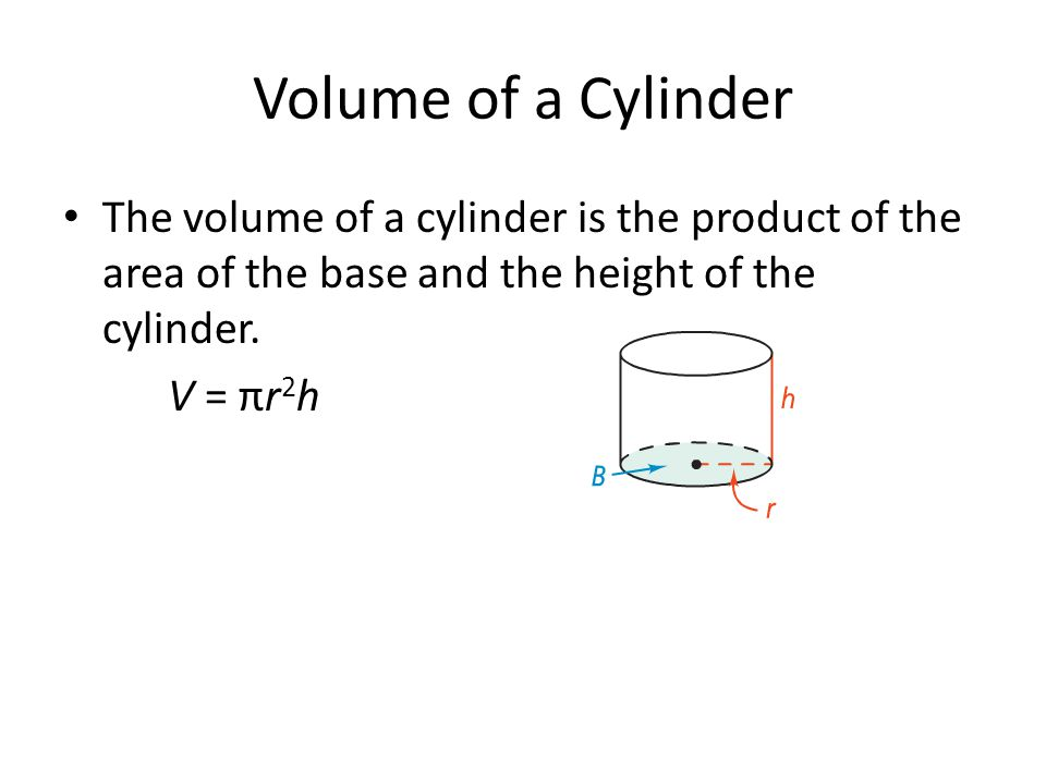 Volume of a Cylinder The volume of a cylinder is the product of the area of the base and the height of the cylinder. V = πr 2 h