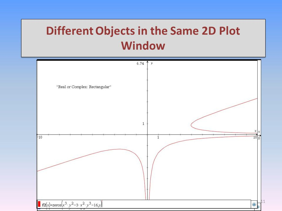 "Different Objects in the Same 2D Plot Window  Moreover, the ""complex"" format must be selected.  Here are some examples.  Let us take a look at this"