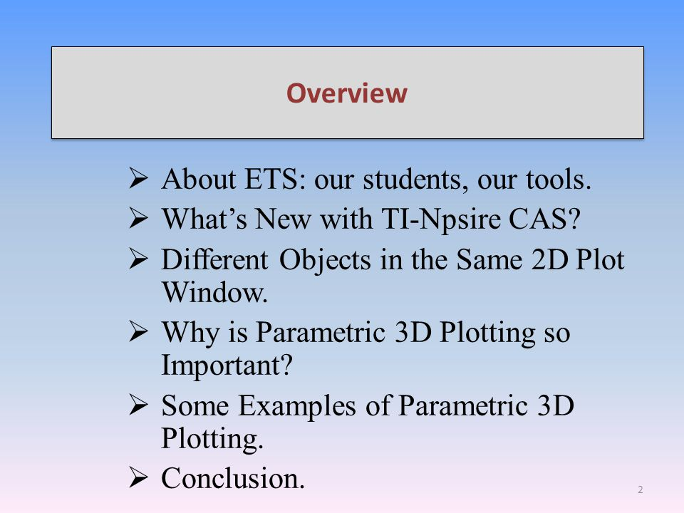 Overview  About ETS: our students, our tools.  What's New with TI-Npsire CAS?  Different Objects in the Same 2D Plot Window.  Why is Parametric 3D