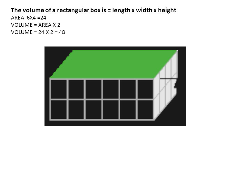 The volume of a rectangular box is = length x width x height AREA 6X4 =24 VOLUME = AREA X 2 VOLUME = 24 X 2 = 48