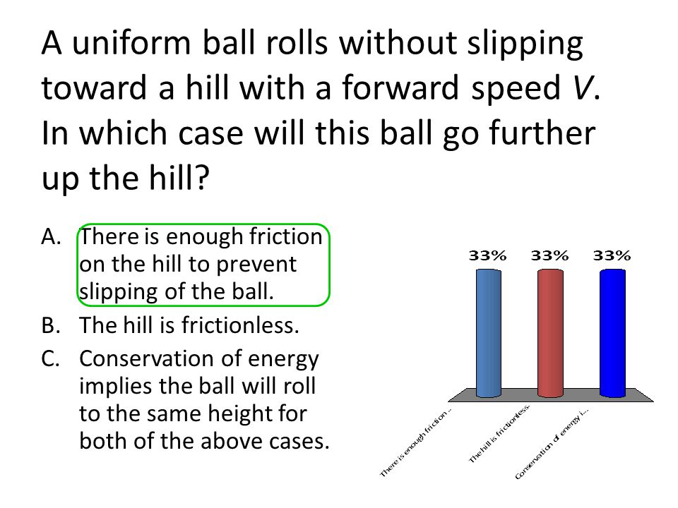 A uniform ball rolls without slipping toward a hill with a forward speed V. In which case will this ball go further up the hill? A.There is enough fri