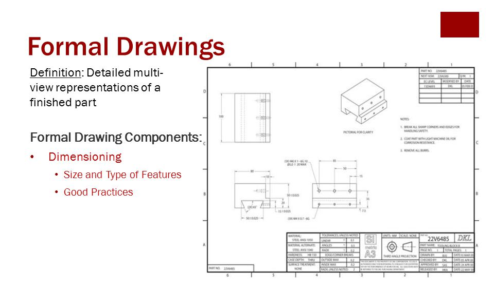Formal Drawings Formal Drawing Components: Dimensioning Size and Type of Features Good Practices Definition: Detailed multi- view representations of a finished part