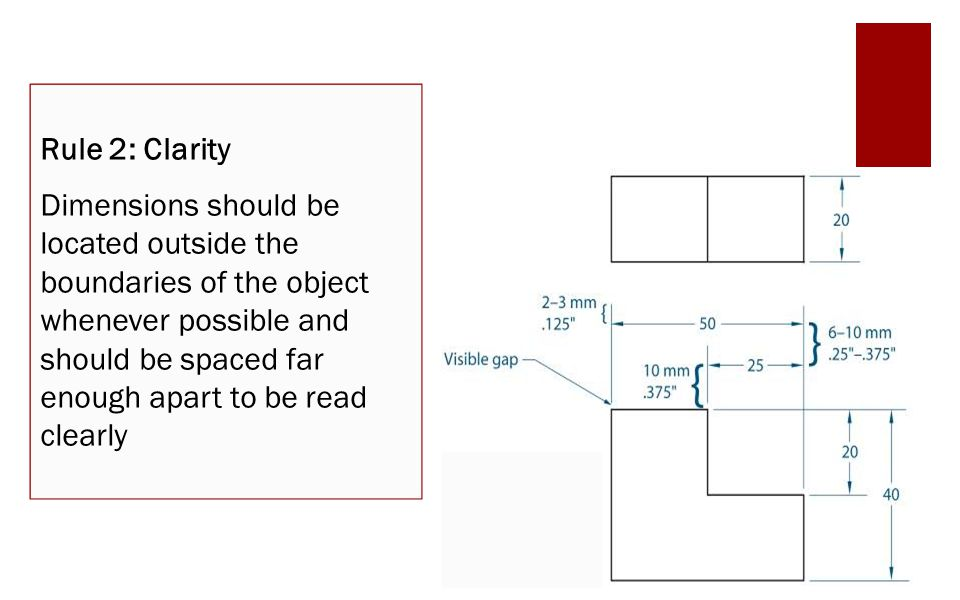 Rule 2: Clarity Dimensions should be located outside the boundaries of the object whenever possible and should be spaced far enough apart to be read clearly