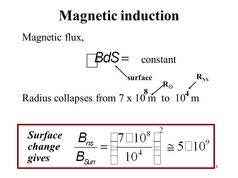 14 Magnetic induction Magnetic flux, Radius collapses from 7 x 10 m to 10 m constant surface 8 4 RR Surface change gives R NS
