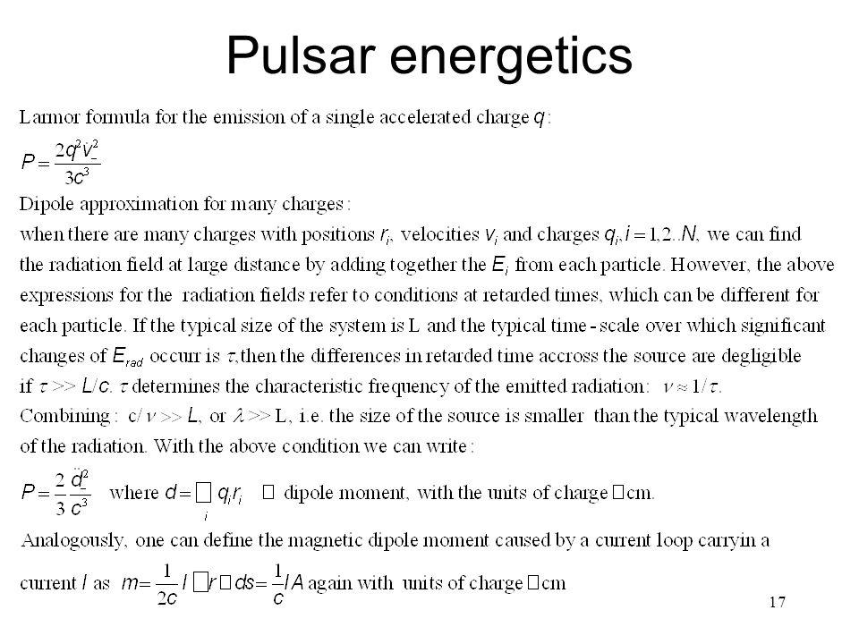 17 Pulsar energetics