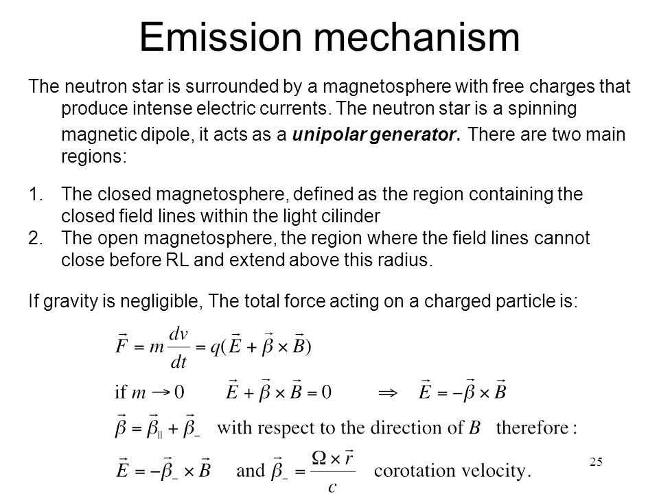 25 Emission mechanism The neutron star is surrounded by a magnetosphere with free charges that produce intense electric currents.