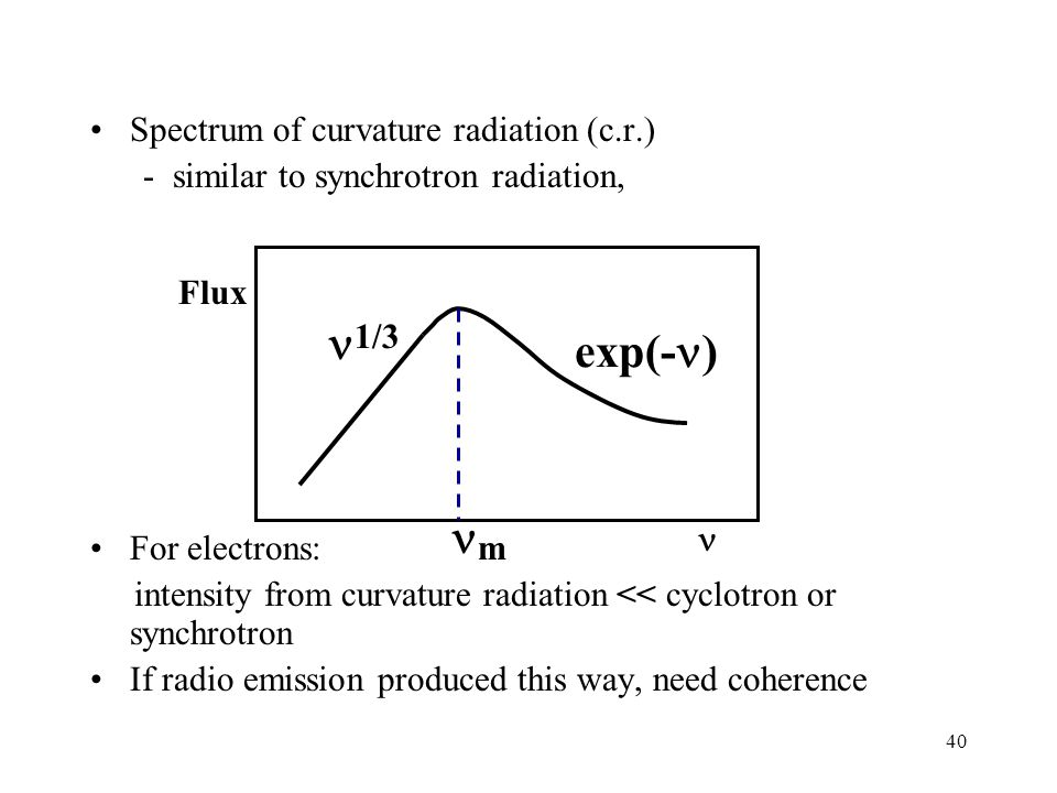 40 Spectrum of curvature radiation (c.r.) - similar to synchrotron radiation, For electrons: intensity from curvature radiation << cyclotron or synchrotron If radio emission produced this way, need coherence Flux 1/3 exp(- ) m