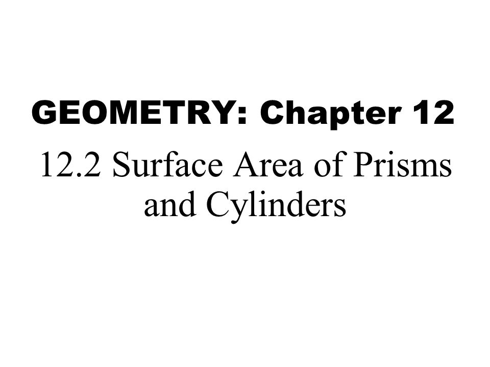 GEOMETRY: Chapter 12 12.2 Surface Area of Prisms and Cylinders