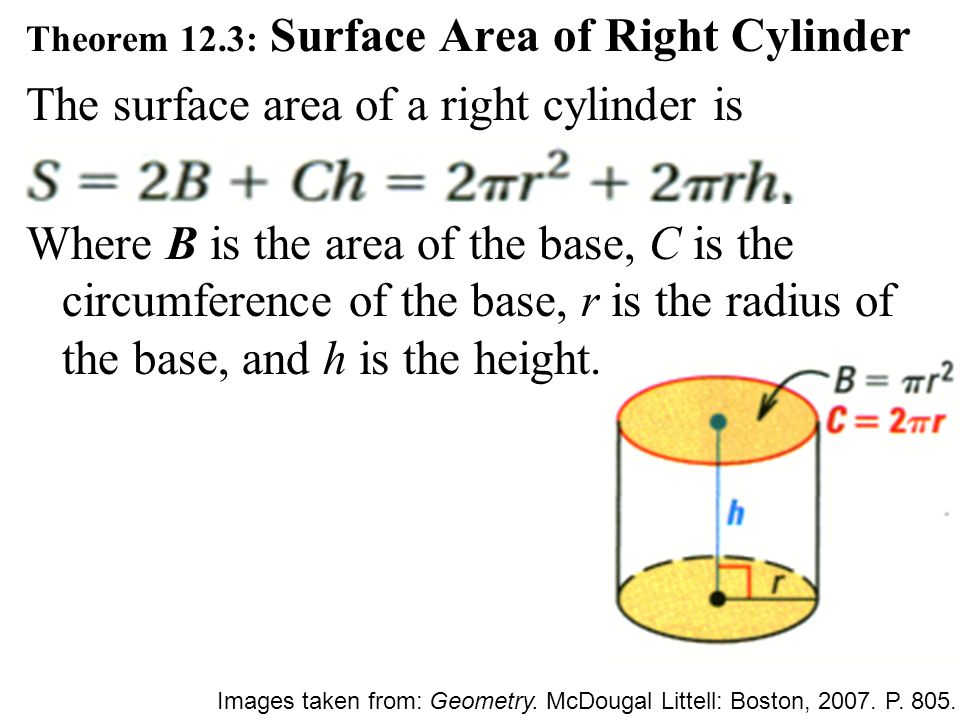 Theorem 12.3: Surface Area of Right Cylinder The surface area of a right cylinder is Where B is the area of the base, C is the circumference of the ba