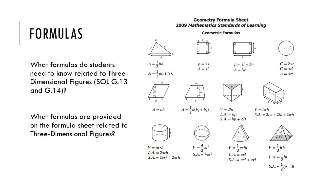FORMULAS What formulas do students need to know related to Three- Dimensional Figures (SOL G.13 and G.14)? What formulas are provided on the formula s