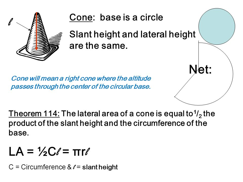 Cone: base is a circle Slant height and lateral height are the same.