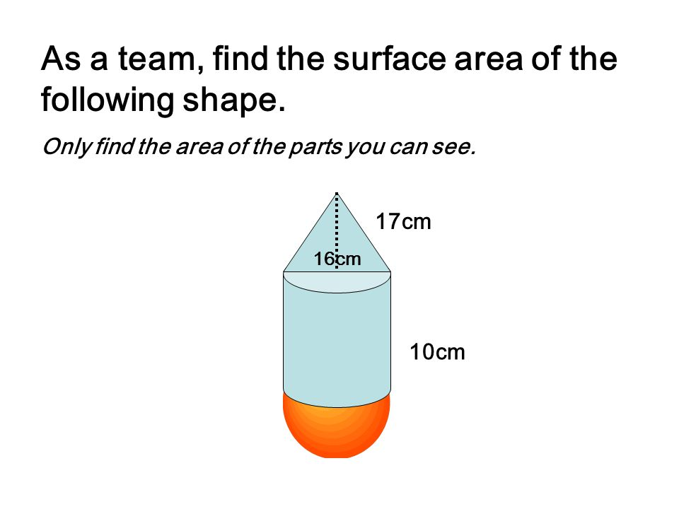 As a team, find the surface area of the following shape.
