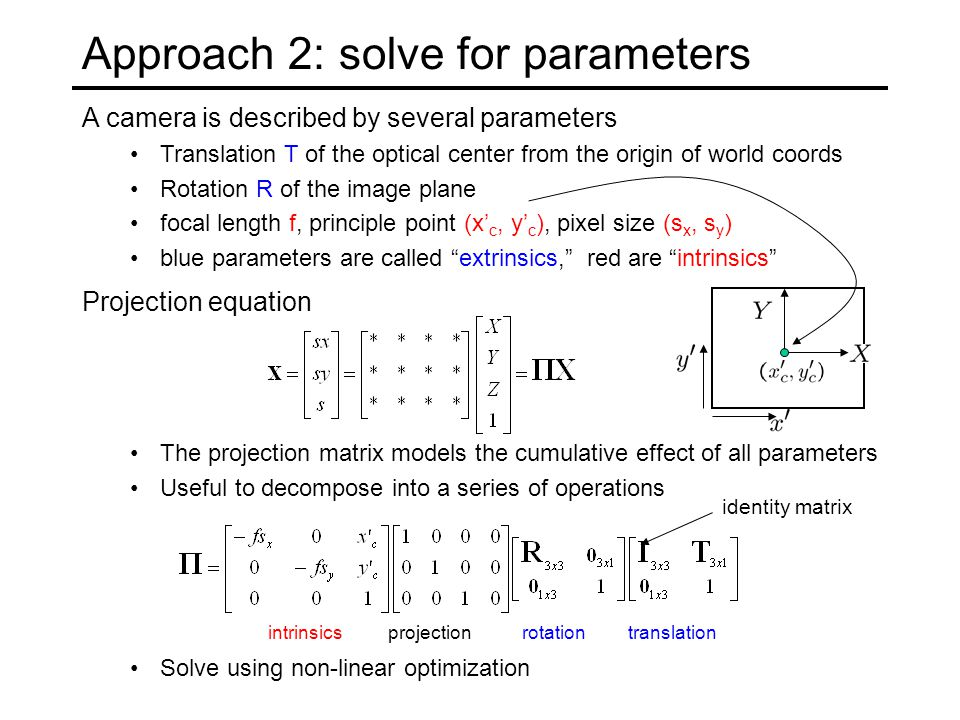 Projection equation The projection matrix models the cumulative effect of all parameters Useful to decompose into a series of operations projectionintrinsicsrotationtranslation identity matrix Approach 2: solve for parameters A camera is described by several parameters Translation T of the optical center from the origin of world coords Rotation R of the image plane focal length f, principle point (x' c, y' c ), pixel size (s x, s y ) blue parameters are called extrinsics, red are intrinsics Solve using non-linear optimization