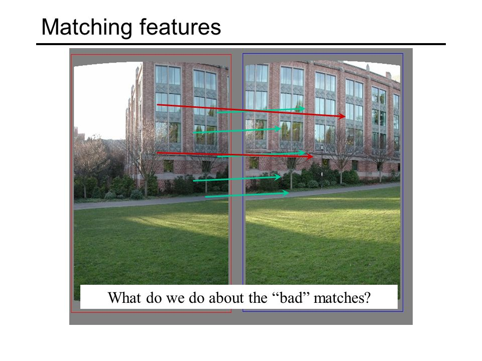 Matching features What do we do about the bad matches