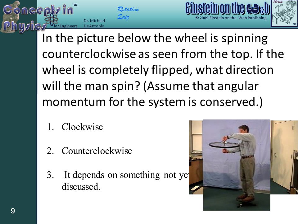 Rotation Quiz 9 In the picture below the wheel is spinning counterclockwise as seen from the top.