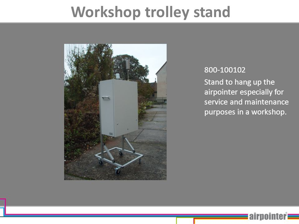 Workshop trolley stand 800-100102 Stand to hang up the airpointer especially for service and maintenance purposes in a workshop.
