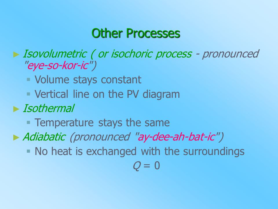 Other Processes ►I►Isovolumetric ( or isochoric process - pronounced