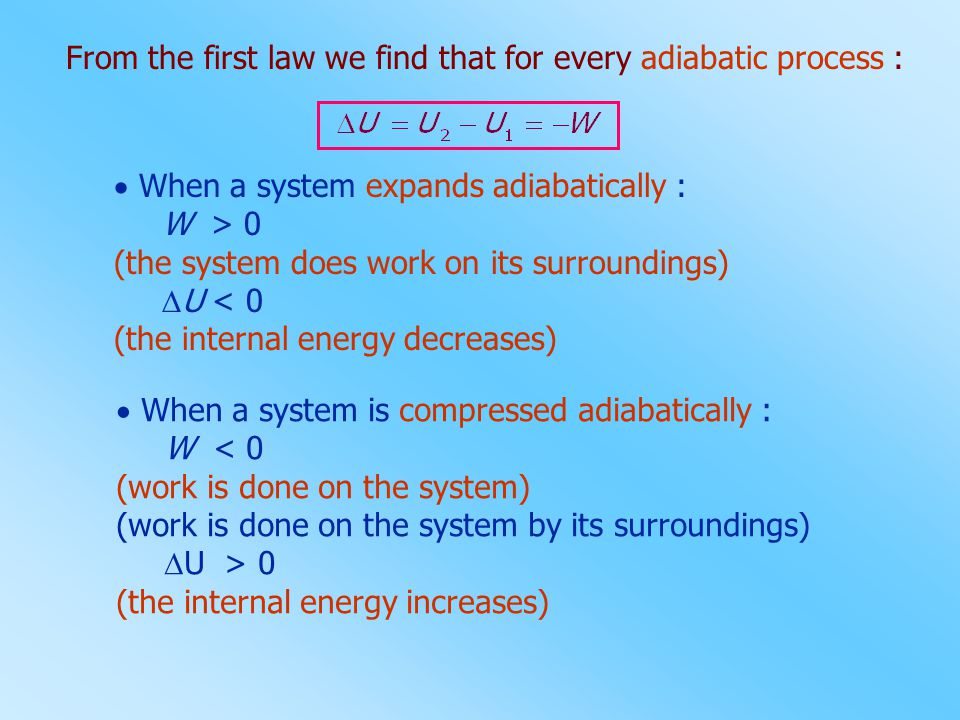From the first law we find that for every adiabatic process :  When a system expands adiabatically : W > 0 (the system does work on its surroundings)