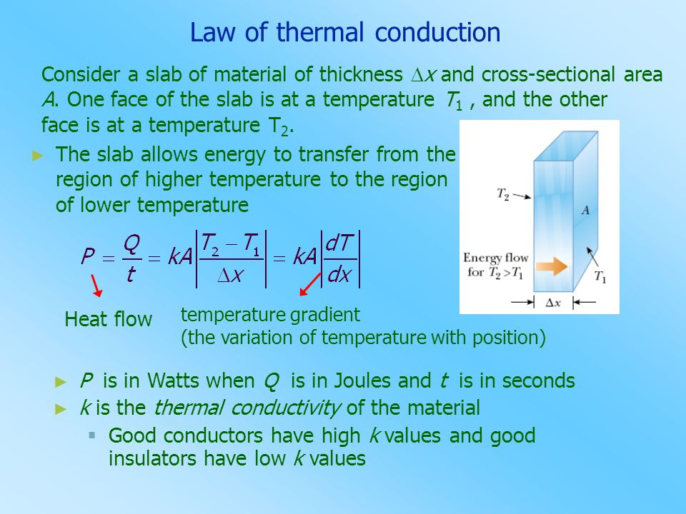 ► The slab allows energy to transfer from the region of higher temperature to the region of lower temperature Heat flow temperature gradient (the vari