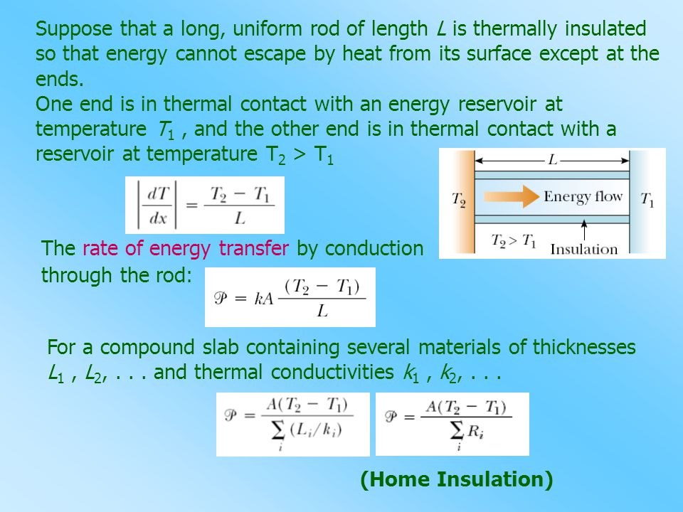 The rate of energy transfer by conduction through the rod: Suppose that a long, uniform rod of length L is thermally insulated so that energy cannot e
